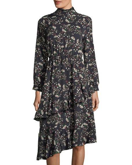 FEW MODA Frill-Trim Floral-Print Dress