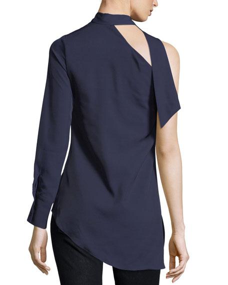 Neck-Tie One-Shoulder Blouse