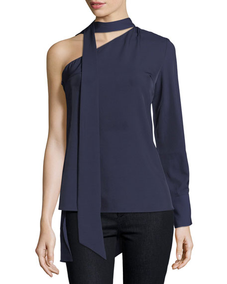 FEW MODA Neck-Tie One-Shoulder Blouse