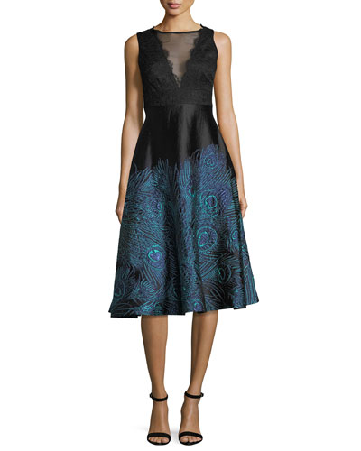 Lace Mesh Sleeveless Peacock Jacquard Cocktail Dress