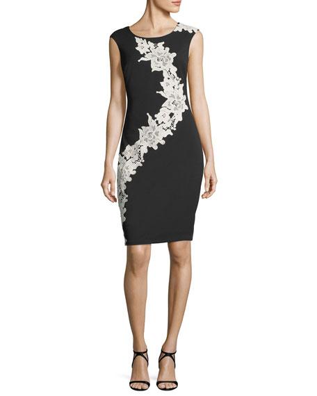 Lace-Embellished Sheath Dress