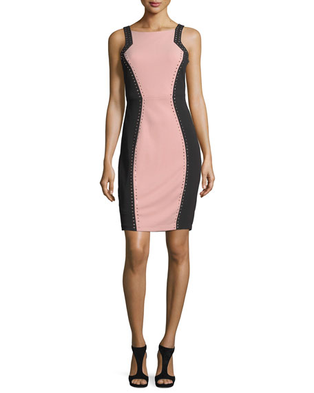 Studded Colorblock Sheath Dress