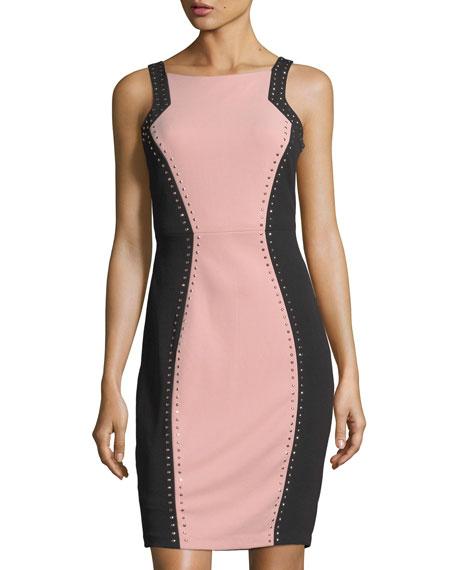 JAX Studded Colorblock Sheath Dress