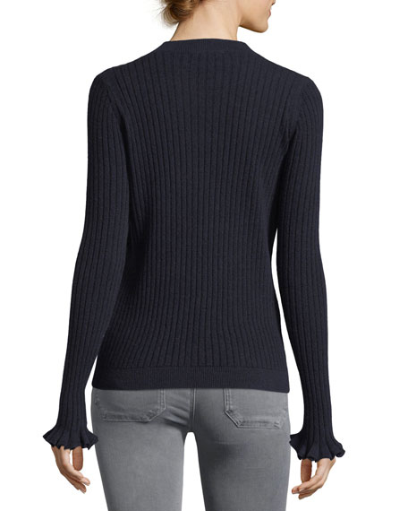 Happy Frill Long-Sleeve Ribbed Merino/Cashmere Sweater