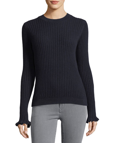 MiH Happy Frill Long-Sleeve Ribbed Merino/Cashmere Sweater