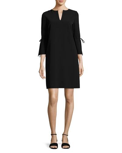 V-Neck Sleek Tech Cloth Dress, Black, Plus Size