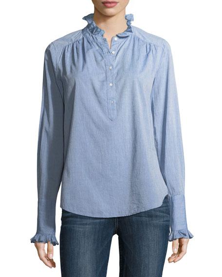 Joie Reka Partial-Button Long-Sleeve Denim Shirt
