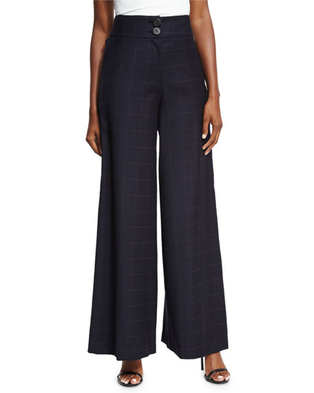 Beatrice Wide-Leg High-Waist Check Wool Trousers