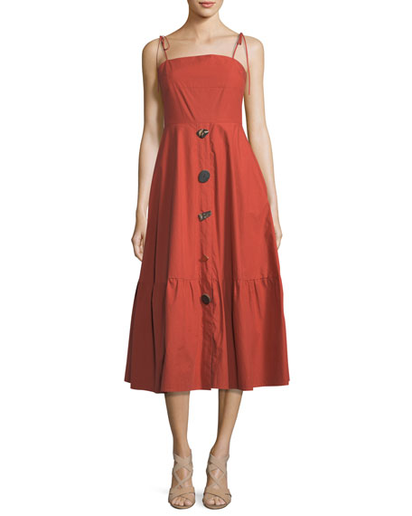 REJINA PYO Maria Square-Neck Sleeveless Button-Front Poplin Dress