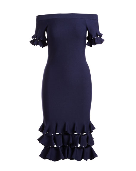 Slashed Off-the-Shoulder Stretch-Knit Cocktail Dress w/ Ruffle Trim