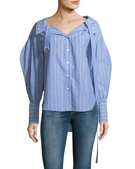 Rosa Striped Button-Front Cotton-Linen Short