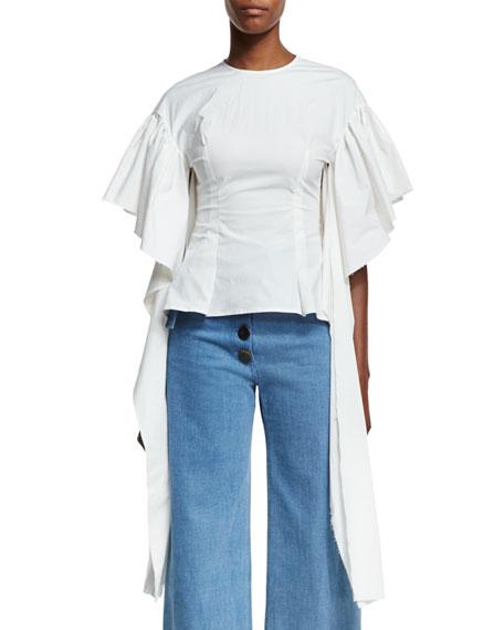 REJINA PYO Kara Flounce-Sleeve Fitted Poplin Blouse
