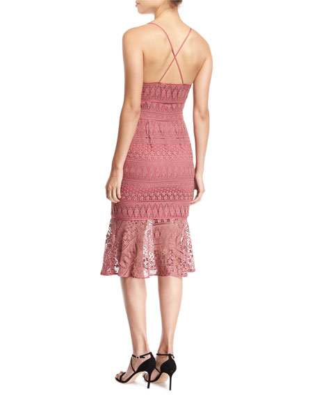 Darby Sweetheart-Neck Embroidered Lace Cocktail Midi Dress
