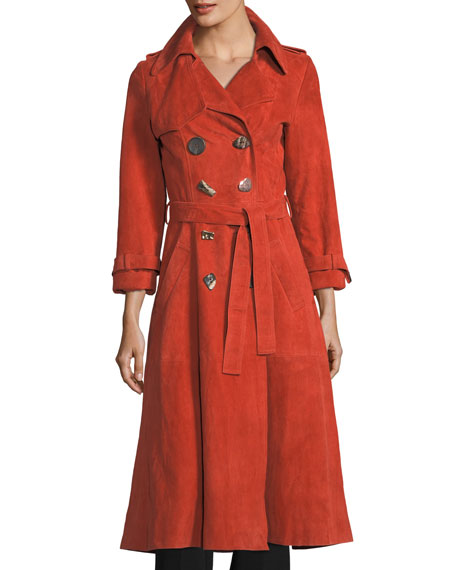 REJINA PYO Kirsten Double-Breasted Suede Trench Coat