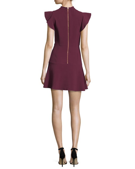 Parma High-Neck Flutter-Sleeve Fit-and-Flare Dress