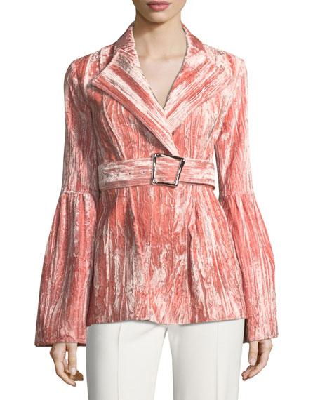 REJINA PYO Claire One-Button Belted Bonded Velvet Jacket