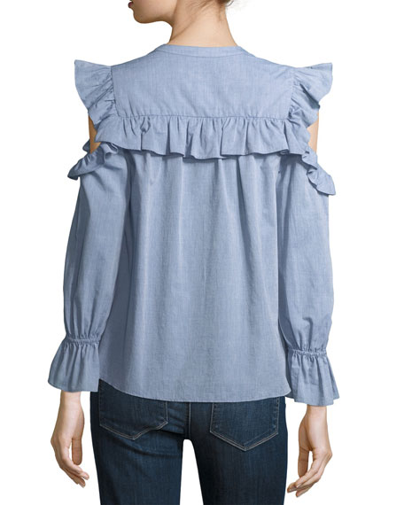 Akari Cold-Shoulder Button-Front Chambray Top