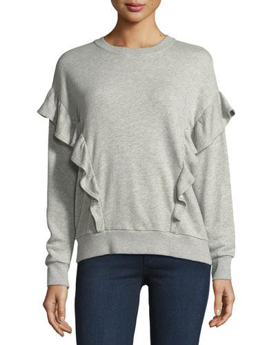 Ayana Crewneck Long-Sleeve Sweater w/ Ruffled Frills
