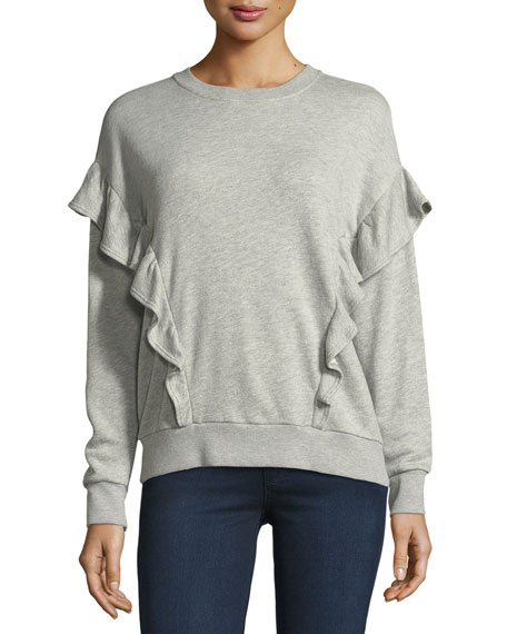 Joie Ayana Crewneck Long-Sleeve Sweater w/ Ruffled Frills
