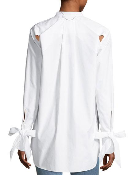 Dylan Long-Sleeve High-Low Poplin Shirt