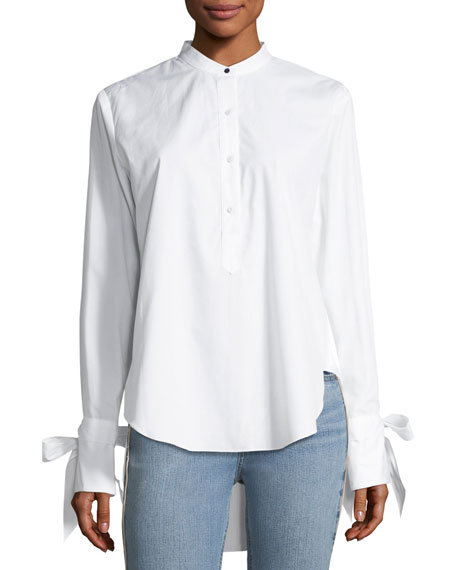 Rag & Bone Dylan Long-Sleeve High-Low Poplin Shirt