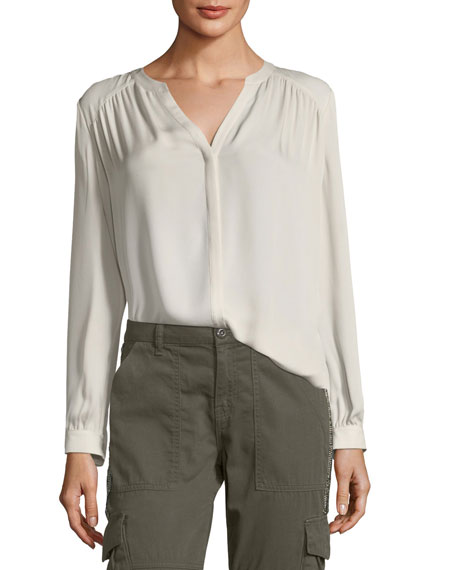 Joie Yaritza Split-Neck Silk Top and Matching Items