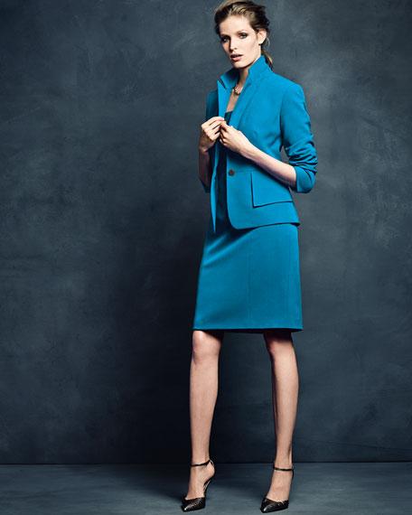 One-Button Crepe Jacket & Sheath Dress Set