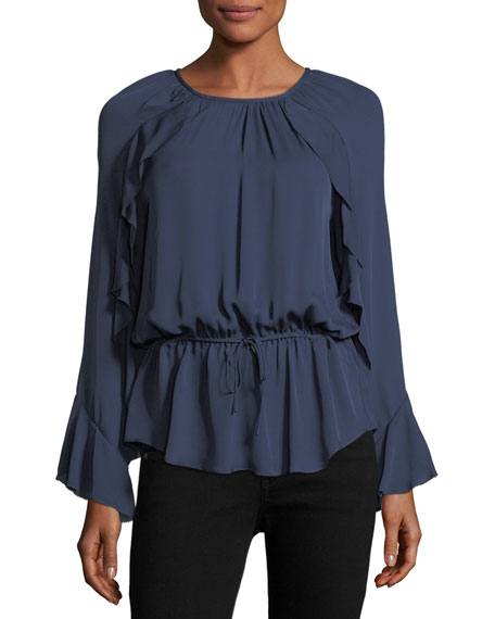 Joie Arthurine Long-Sleeve Silk Blouson Top