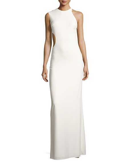Halston Heritage Asymmetric Sleeveless Cutout-Back Crepe Gown