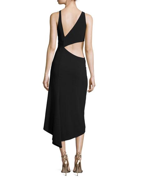 Sleeveless High-Neck Crepe Cocktail Dress W/ Cutout