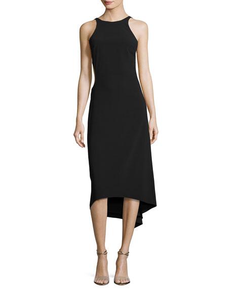 Halston Heritage Sleeveless High-Neck Crepe Cocktail Dress W/