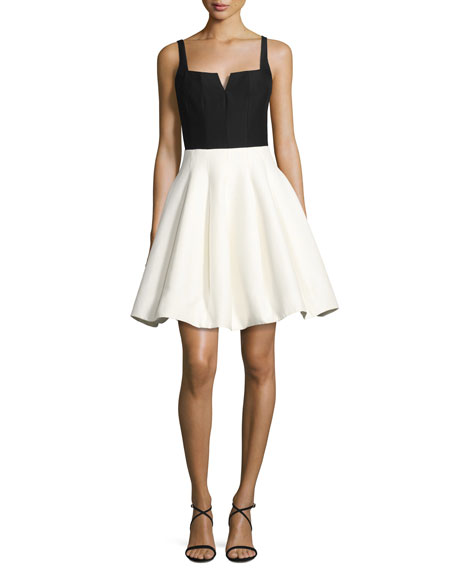 Halston Heritage Sleeveless Geo-Neck Colorblocked Cocktail Dress