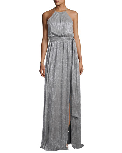 Sleeveless High-Neck Textured Metallic Gown w/ Sash