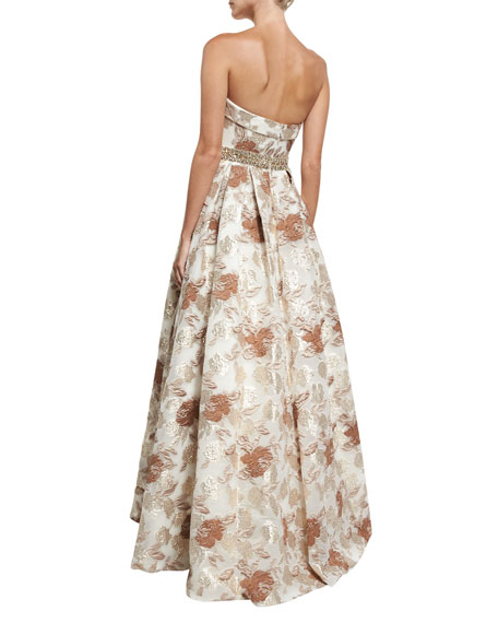 Brocade Cuffed Strapless Bustier Embellished Evening Gown
