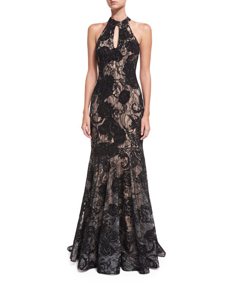 Jovani Floral Embellished Sleeveless Halter Evening Gown