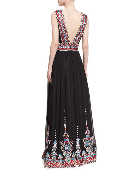 Plunging V-Neck Border-Print Gown