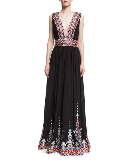 Jovani Plunging V-Neck Border-Print Gown