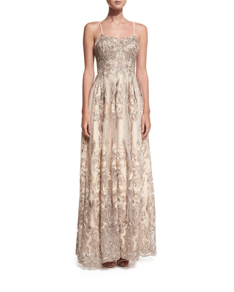 Sleeveless Embroidered Beaded Lace Gown