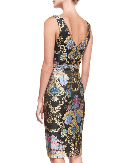 Beaded Floral-Jacquard Sleeveless Sheath Cocktail