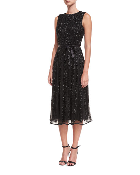 Jovani Jewel-Neck Sleeveless Sequin Cocktail Dress