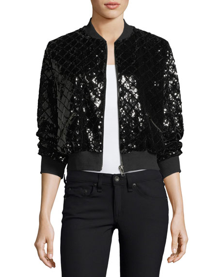 Sequin Bomber-Style Evening Jacket