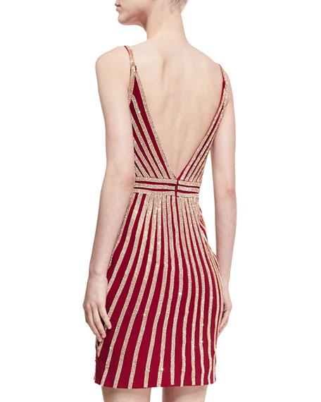 Deep-V Sleeveless Beaded Striped Cocktail Dress