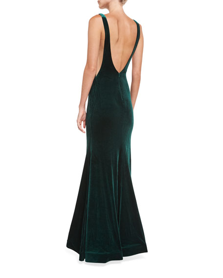 Bateau-Neck Velvet Nude-Side Evening Gown