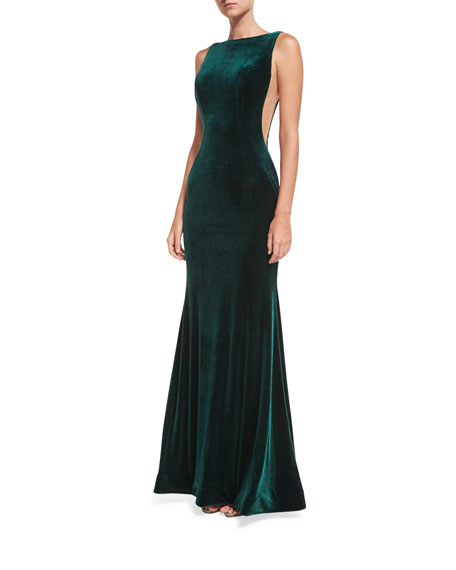 Jovani Bateau-Neck Velvet Nude-Side Evening Gown
