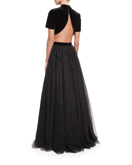 Two-Piece Velvet Top w/ Tulle Ball Skirt