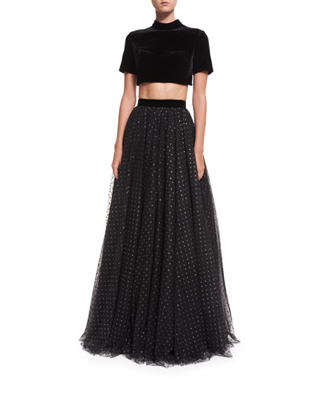 Jovani Two-Piece Velvet Top w/ Tulle Ball Skirt