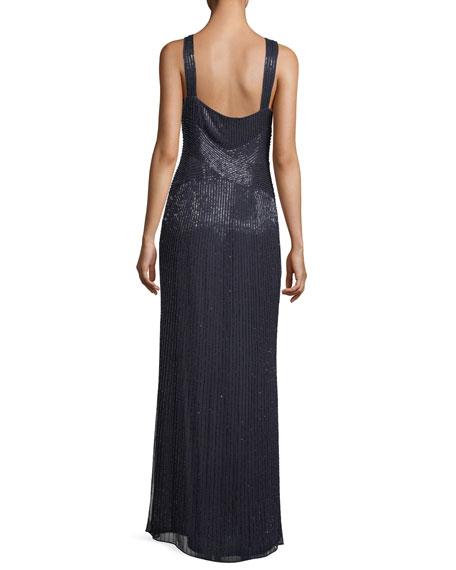 Lara Halter Sleeveless Beaded Evening Gown