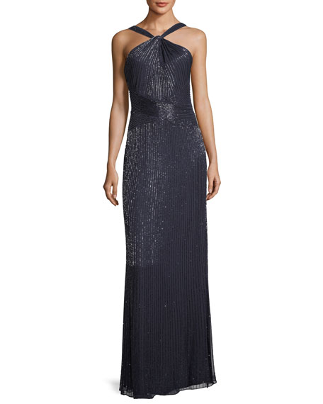 Parker Black Lara Halter Sleeveless Beaded Evening Gown