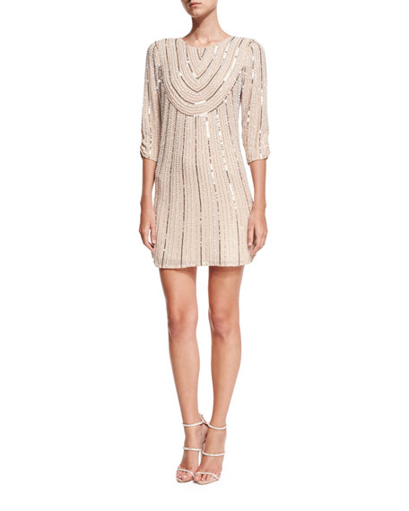 Parker Black Petra 3/4-Sleeve Beaded Sequin Cocktail Dress