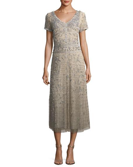 Parker Black Short-Sleeve V-Neck Beaded Sequin Cocktail Dress